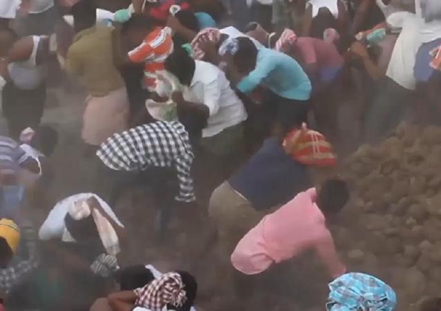 Campesinos indios se lanzan heces como parte de un extraño ritual
