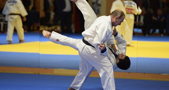 Vladímir Purin, presidente de Rusia, practicando judo