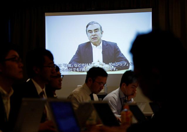 Reproducción de vídeo de Carlos Ghosn, exjefe del consorcio automovilístico Nissan