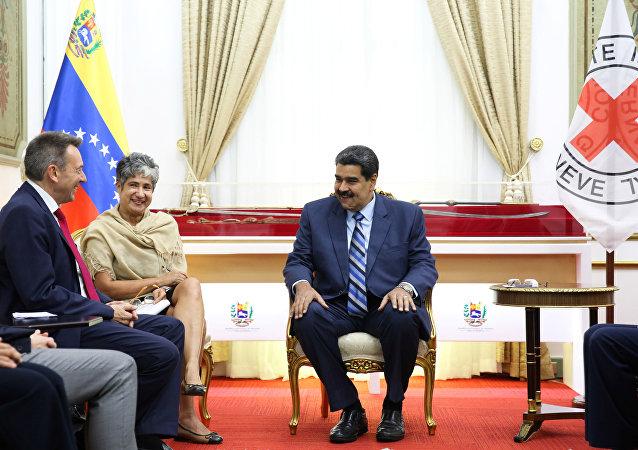 Reunión del presidente del Comité Internacional de la Cruz Roja, Peter Maurer, y presidente venezolano, Nicolás Maduro