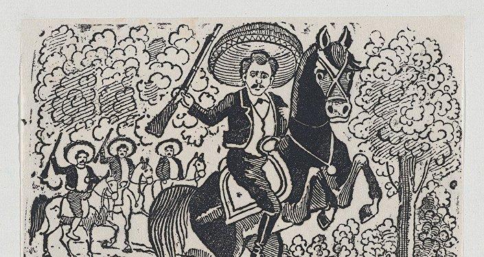 Emiliano Zapata a caballo, representación de una escena de la Revolución Mexicana