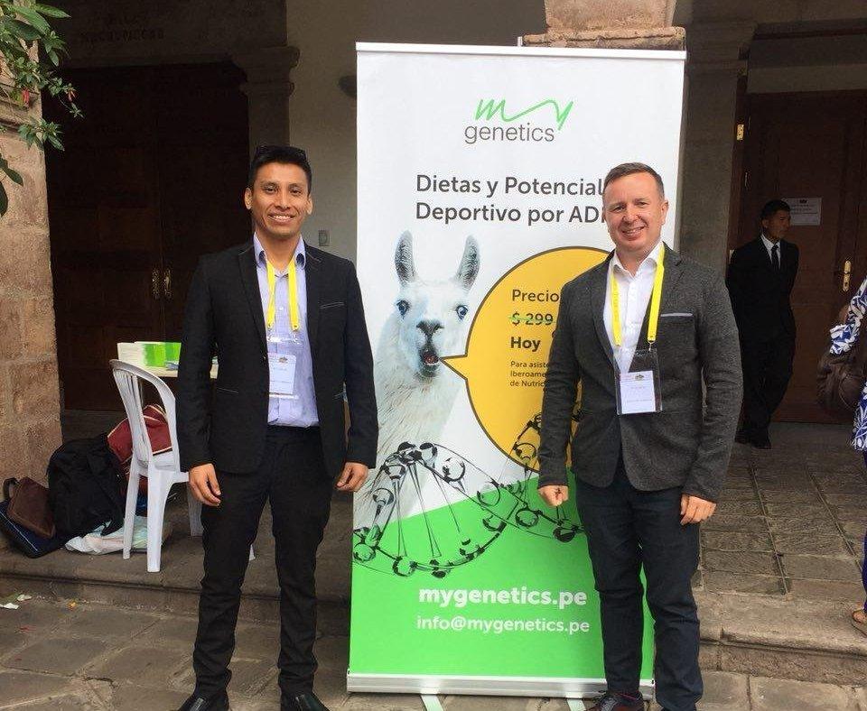 Cristian Javier y fundador de MyGenetics, Vladímir Volobuev en Perú