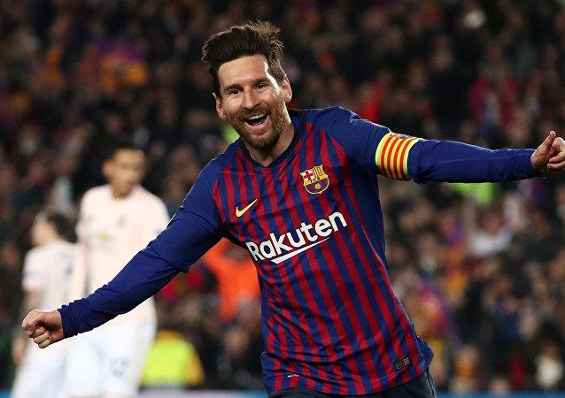 El argentino Lionel Messi celebra un gol con la camiseta del Barcelona