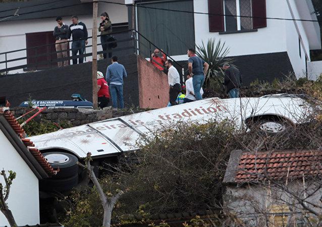Accidente de autobús en la isla de Madeira, Portugal