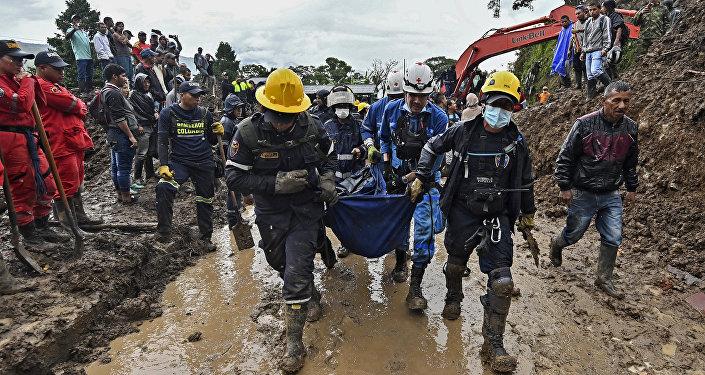 Deslizamiento de tierra en Cauca, Colombia