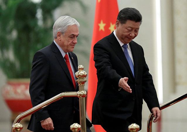 El presidente de Chile, Sebastián Piñera, y el presidente chino, Xi Jinping