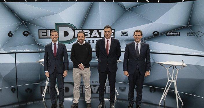 De izquierda a derecha, Pablo Casado, Pablo Iglesias, Pedro Sánchez y Albert Rivera, los principales líderes políticos españoles