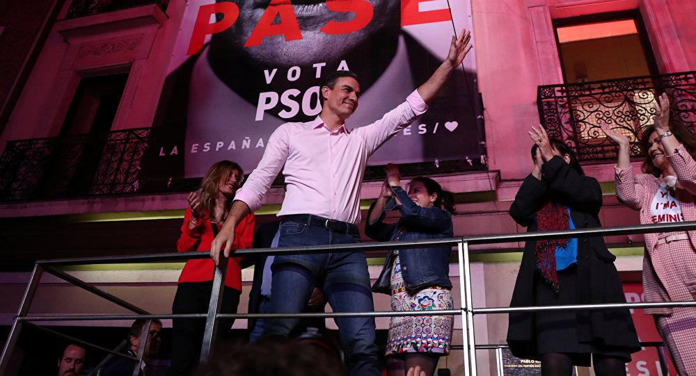 Pedro Sanchez tras su victoria en las elecciones de España