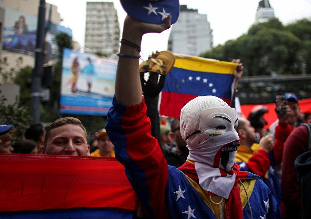 Protestas a favor de Juan Guaidó