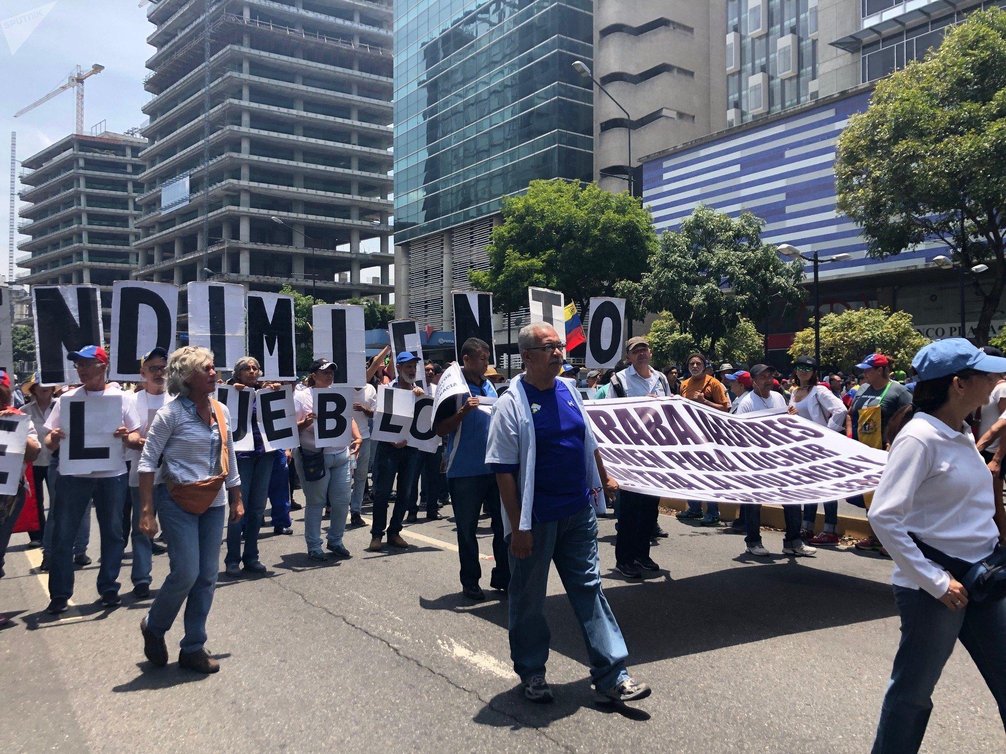 La marcha opositora en Caracas, Venezuela