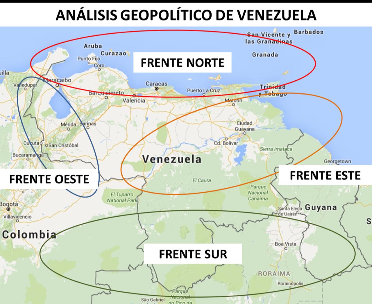 Mapa de areas amenazadas en Venezuela
