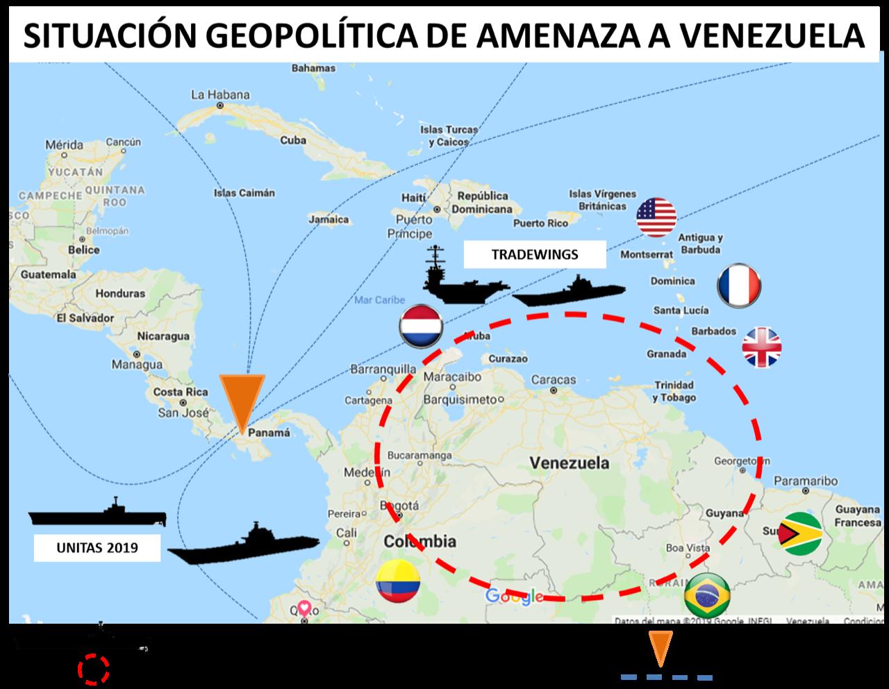 Mapa de amenaza geopolitica a Venezuela