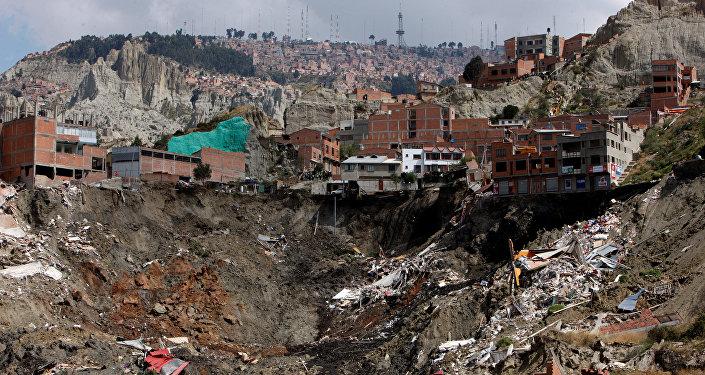Deslizamiento de viviendas en La Paz, Bolivia