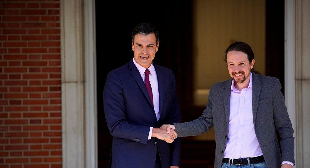 Presidente del Gobierno español, Pedro Sánchez, y secretario general de Podemos, Pablo Iglesias
