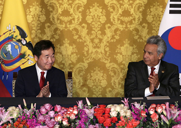 Primer ministro de Corea del Sur, Lee Nak-Yon, y presidente de Ecuador, Lenín Moreno