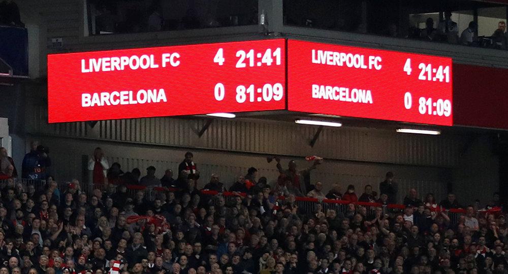 La victoria del club de fútbol Liverpool (4-0) sobre el Barcelona