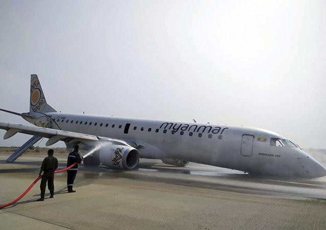 Embraer accidentado de la aerolínea estatal de Birmania