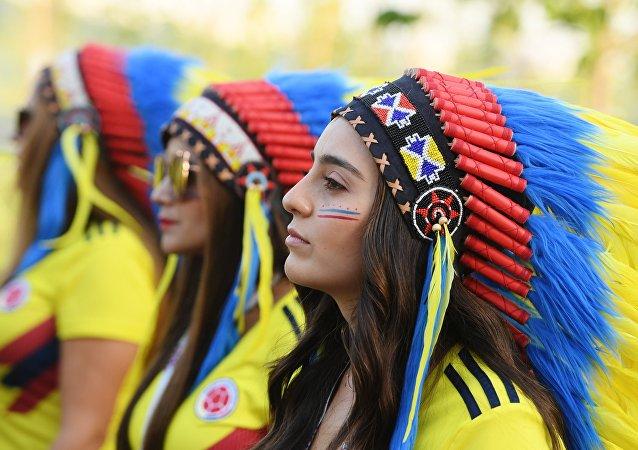 Hinchas de la selección de Colombia en el Mundial de Rusia