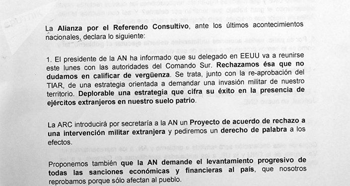 Carta de la Alianza por el Referéndum Consultivo, página 1