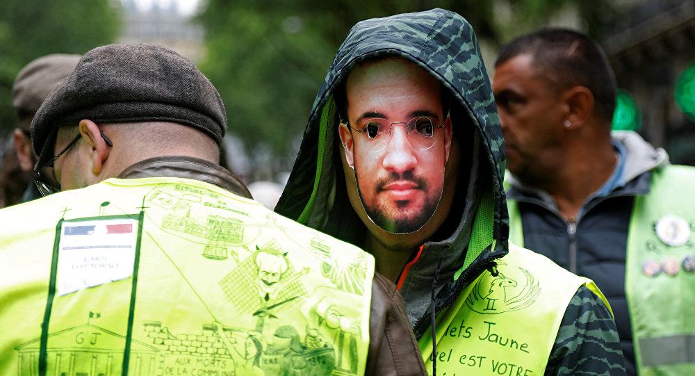 Una protesta de chalecos amarillos, foto de archivo