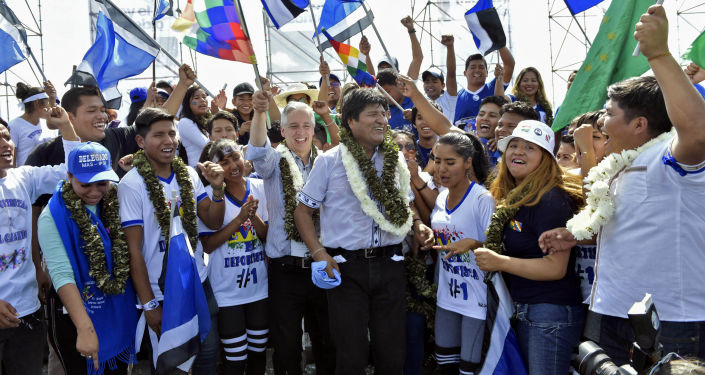 El presidente de Bolivia, Evo Morales y el vicepresidente, Alvaro García Linera