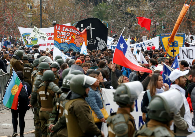 Protestas de profesores en Chile
