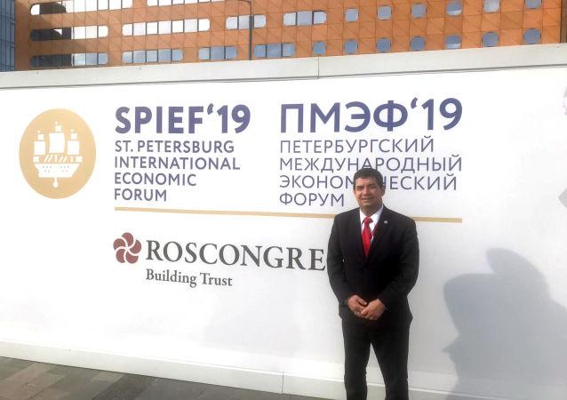 Hugo Velázquez, vicepresidente de Paraguay, durante el SPIEF 2019