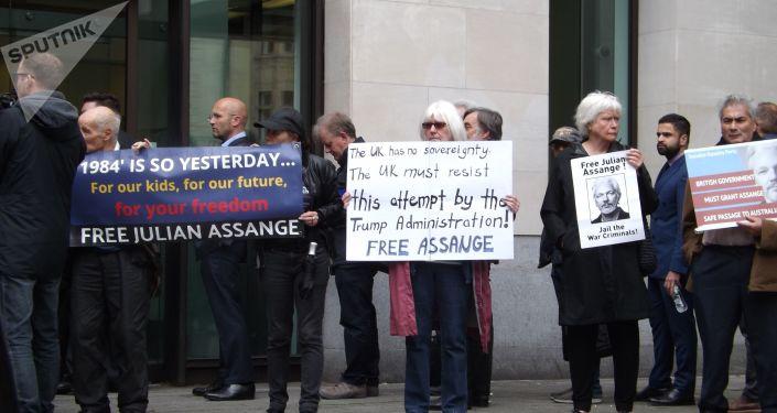 Manifestación de los partidarios de Assange