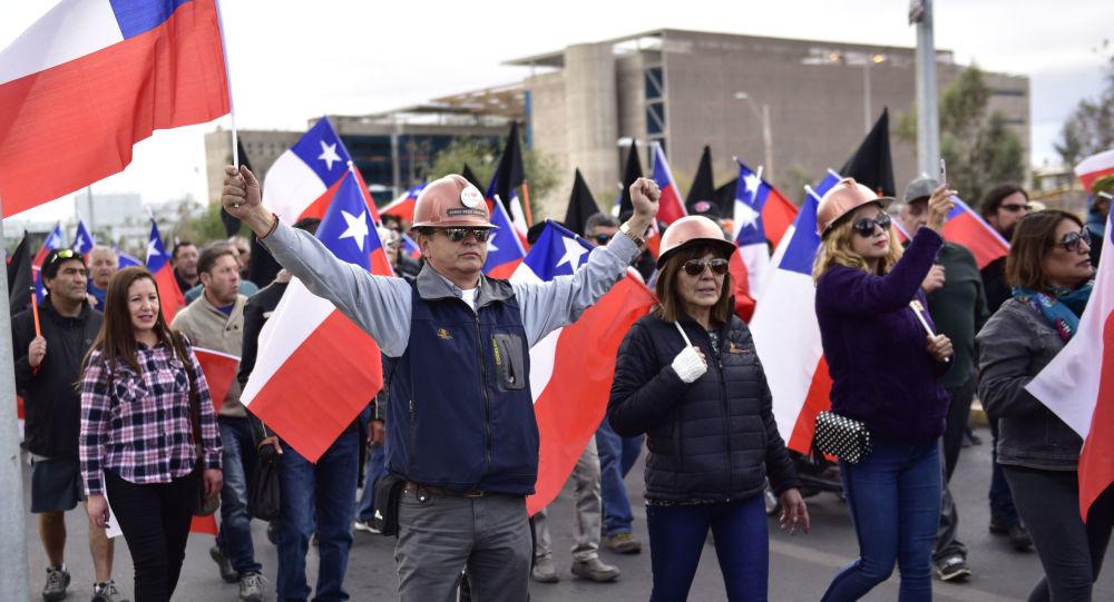 Mineros protestando en Chuquicamata, Chile