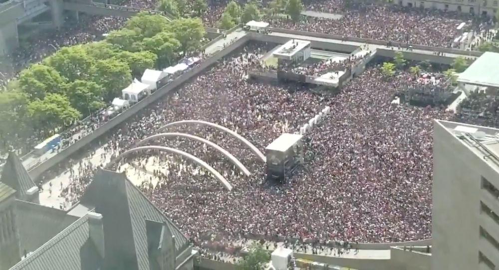 Celebración de la victoria de los Toronto Raptors en la NBA en Toronto (Canadá), el 17 de junio de 2019