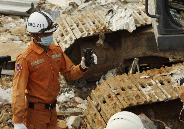 Derrumbe de un edificio en Camboya