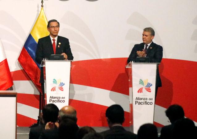 Canciller de  México, Marcelo Ebrard, presidente de Chile, Sebastian Piñera, presidente de Perú, Martín Vizcarra, y mandatario colombiano, Iván Duque, en la XIV Cumbre de la Alianza del Pacífico