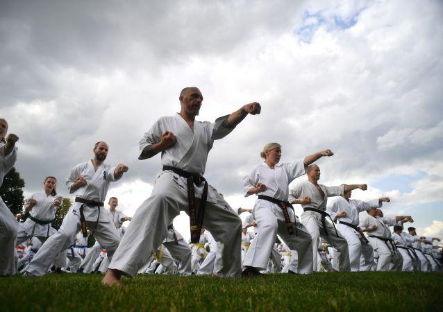 Una lección en pleno festival de artes marciales japonesas Budo.