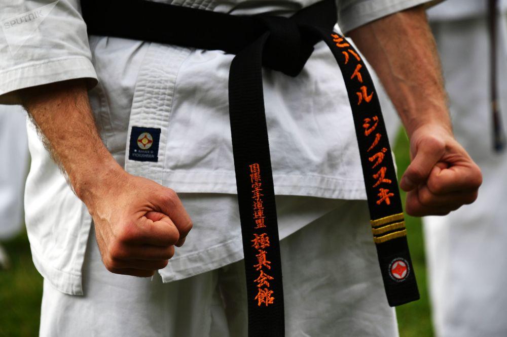 Un maestro de artes marciales, en el festival de artes marciales japonesas en Moscú.