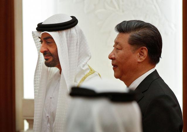 El príncipe heredero del Emirato de Abu Dhabi, Mohammed ben Zayed Nahyane, y el presidente de China, Xi Jinping