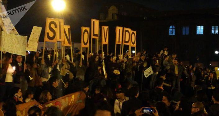 Protesta en Bogotá por los asesinatos de los líderes sociales en Colombia