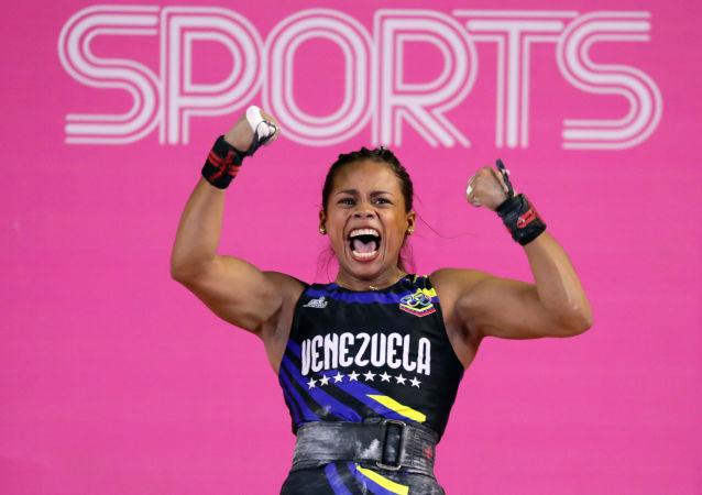 Génesis Rodríguez, deportista venezolana, tras vencer en halterofilia en Juegos Panamericanos Lima 2019, el 28 de julio de 2019