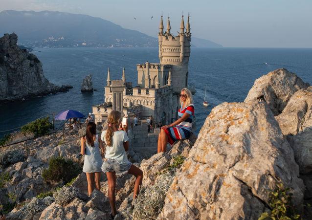 Turistas en Yalta, Crimea