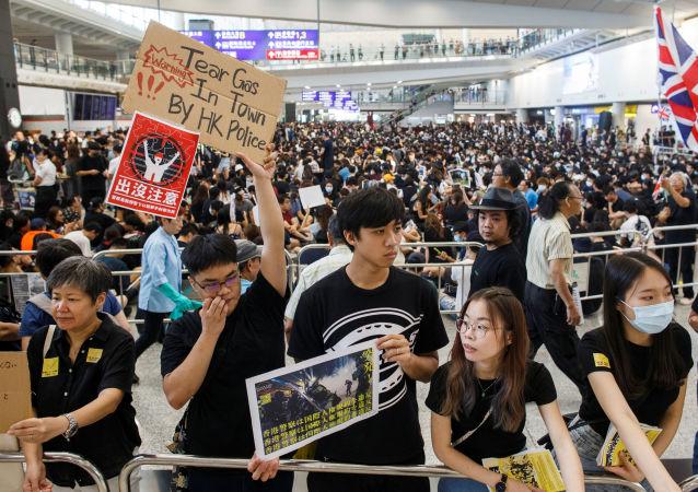Las protestas contra la nueva ley de extradicción en el aeropuerto internacional de Hong Kong