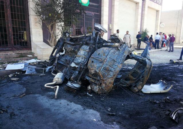 Lugar del atentado en Bengasi