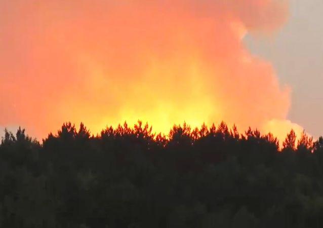 Incendio en un almacén de municiones en la provincia rusa de Krasnoyarsk (Siberia)