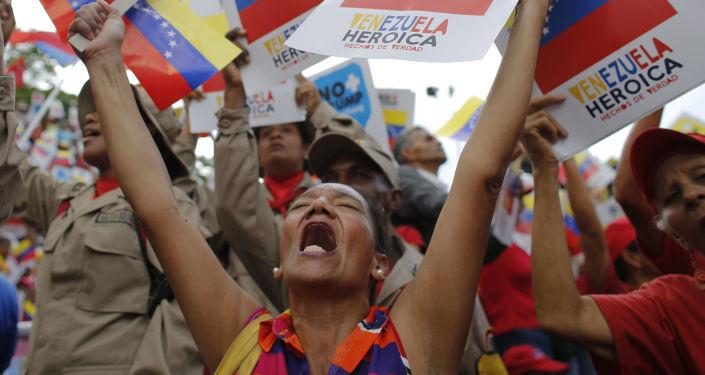 Los venezolanos en una protesta en contra de la política de EEUU hacia Venezuela