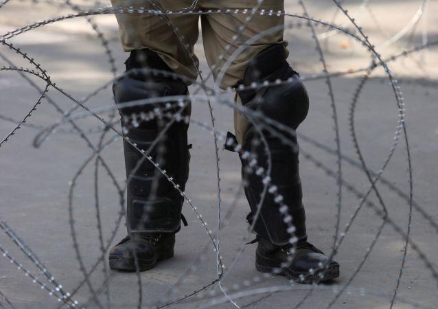 Policía indio en Cachemira