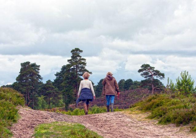 Dos mujeres en el bosque, referencial