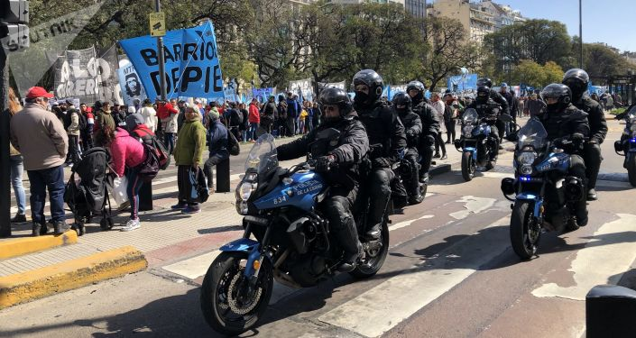 La policía vigila la marcha