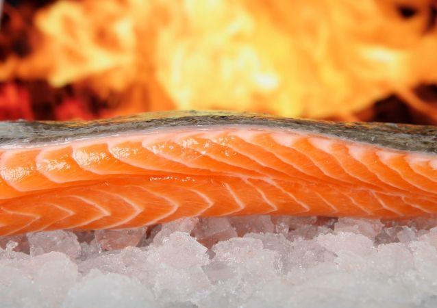Un salmón utilizado para la gastronomía
