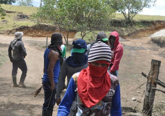 Los campesinos en Colombia en el Departamento del Cauca