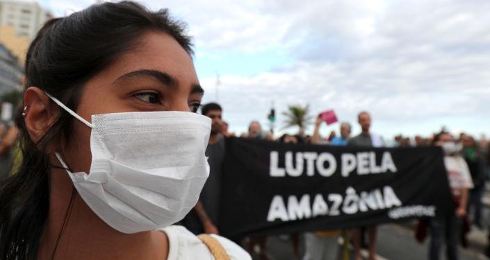 Manifestación en Brasil por la Amazonía