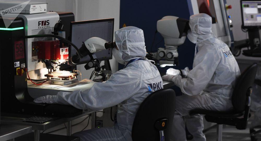 Empleados de Roscosmos, foto de archivo