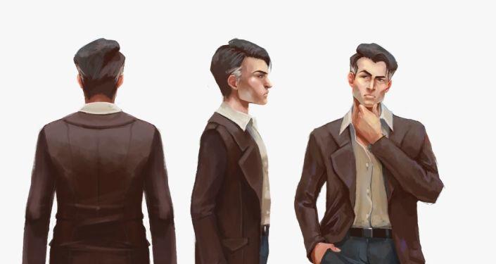 Maximiliano, uno de los protagonistas del videojuego chileno Guerras Sucias, desde distintos angulos en una de sus identidades